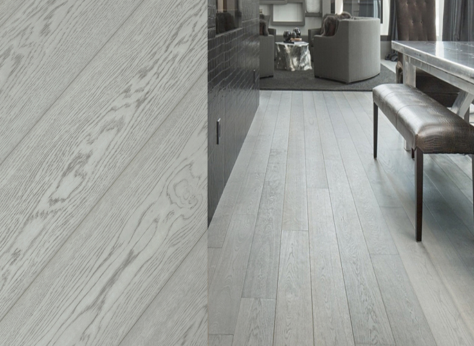 European White Oak Wide Plank Engineered Prefinished Wood Flooring Fossil Oil Finish